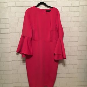 NWT Eloquii hot pink tulip sleeve dress 18